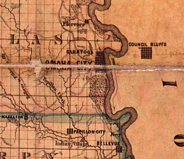 1857 Nebraska Territory map showing Saratoga