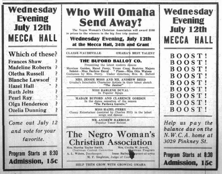 July 8 1916 Omaha Monitor Ad Negro Women's Christian Association, Omaha, Nebraska