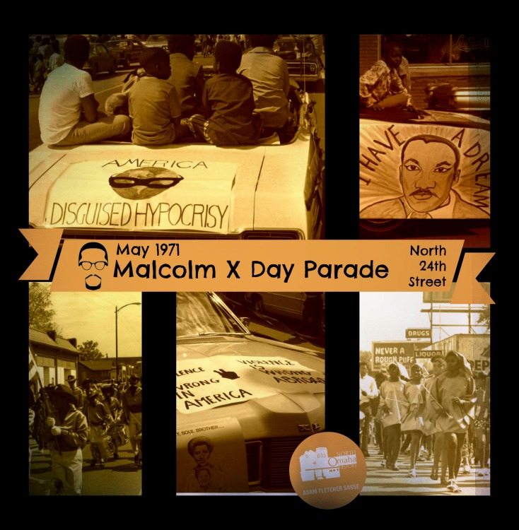 1971 Malcolm X Day parade, North 24th Street, North Omaha, Nebraska