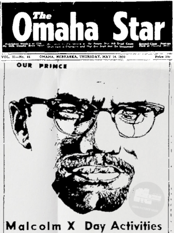Omaha Star article, May 14, 1970 celebrating Malcolm X Day in Omaha