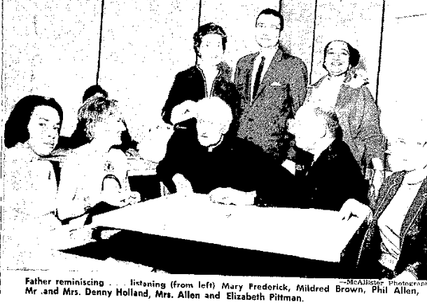 A young attorney in this 1965 pic, Elizabeth Pittman sits in the lower lefthand corner with Father DeMarko, Denny Holland, Mildred Brown and others. Apparently they were reminiscing about the DePorres Club.