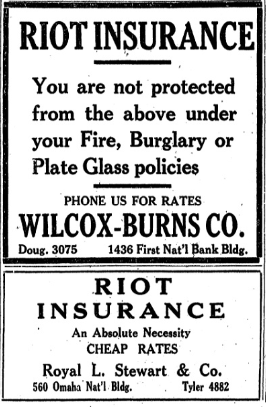 These ads ran in the Omaha World-Herald in the days after the riot.