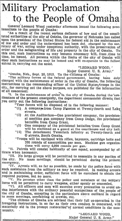"""Military Proclamation to the People of Omaha,"" US Army Major General Leonard Wood, September 29, 1919."
