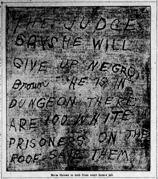 Will Brown lynching note Sept 1919
