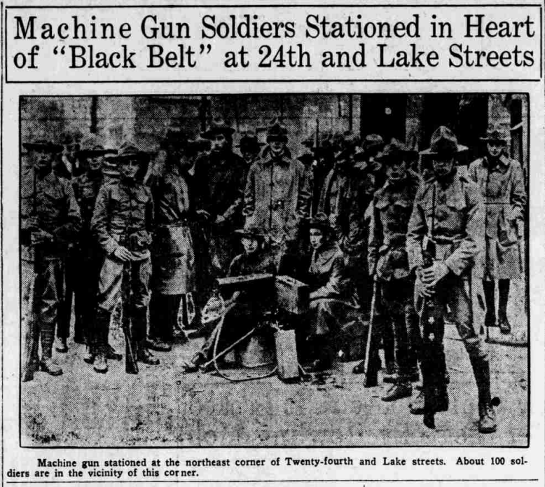 """Machine gun soldiers stationed in the 'Black Belt' at 24th and Lake Streets,"" Omaha Daily Bee, September 30, 1919."