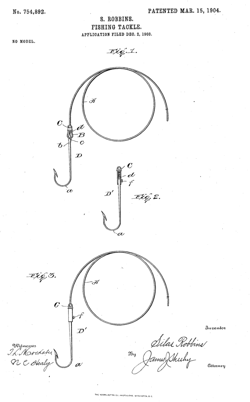 Silas Robbins fishing tackle patent, 1904