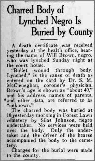 This is the October 2, 1919 announcement of the burial of lynching victim Will Brown from the Omaha Bee. Thanks to Ryan Roenfeld for locating this.
