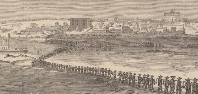 "This is an image of Chinese ""Coolies"" cross the Missouri River on a wood engraving by Leavitt Burnham, circa 1870. Shown is early Omaha, with the former Nebraska Territorial Capital in the background."