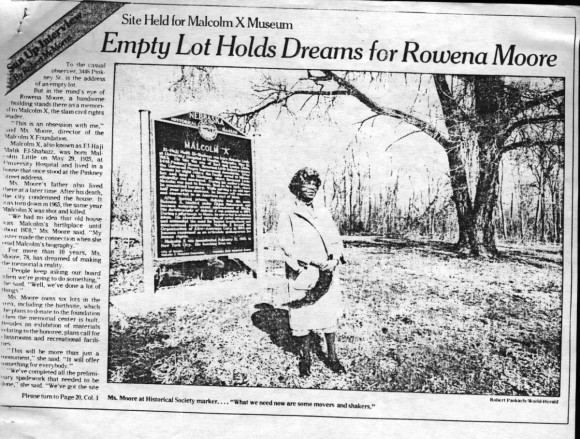 This March 11, 1989 article from the Omaha World-Herald features Rowena Moore's vision for the Malcolm X Memorial Foundation.
