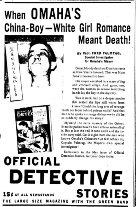 """When Omaha's China-Boy/White Girl Romance Meant Death!"" Official Detective Stories (1926)"