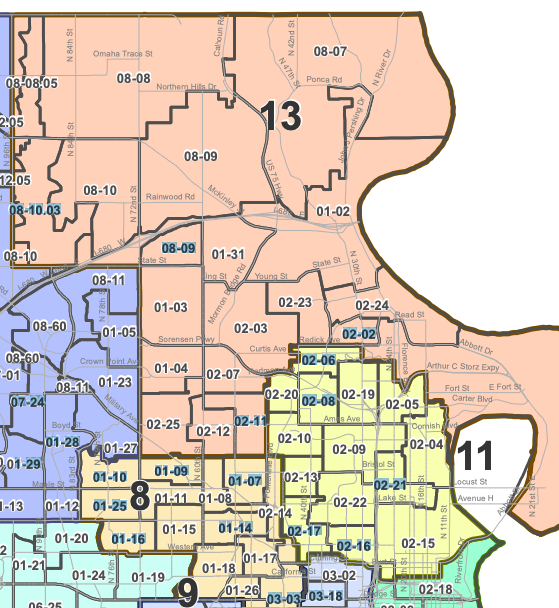 This is a map of legislative districts in North Omaha, including the 13th, 11th, 9th, 8th, 6th, 4th and 10th. This is current as of January 2019.