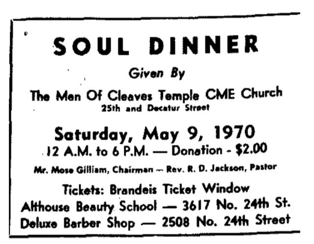 Soul Dinner at Cleaves Temple CME, North Omaha, Nebraska