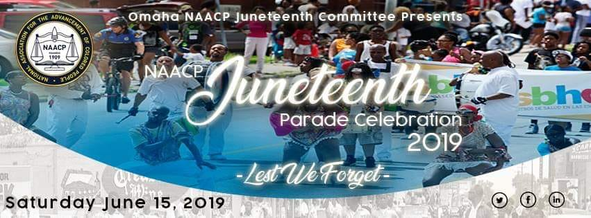 This is an announcement for the 2019 NAACP Juneteenth Parade Celebration on Saturday, June 15.