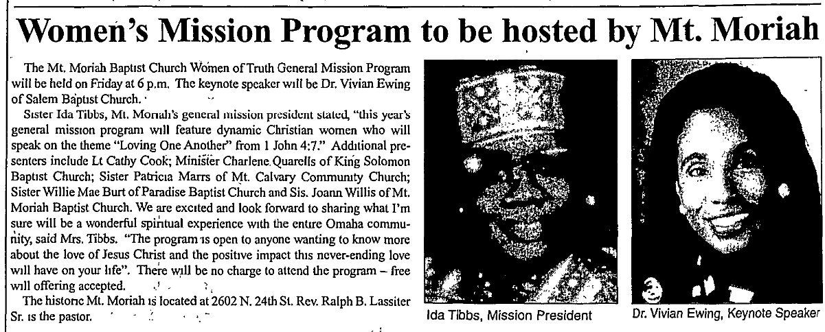 This is a September 17, 2009 article from the Omaha Star focused on Mt Moriah Church Women of Truth General Mission Program.