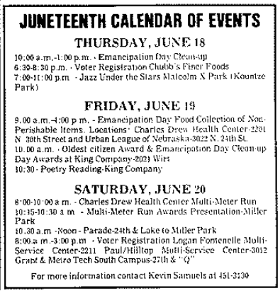This is a calendar of events for the 1987 Juneteenth celebration week in Omaha from the Omaha Star.