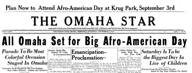 "On September 3, 1938, the Omaha Star newspaper banner announced ""All Omaha set for big Afro-American Day."""