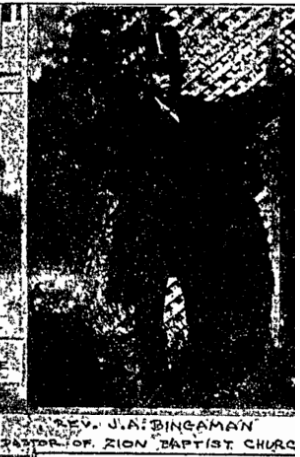 This is Rev. J. A. Bingaman, pastor of Zion Baptist Church from a 1909 feature in the Omaha World-Herald.