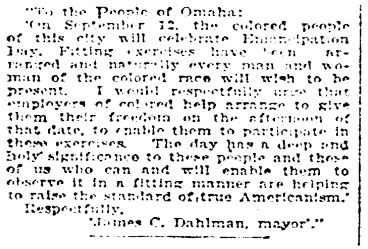 1922 Omaha Emancipation Day Proclamation