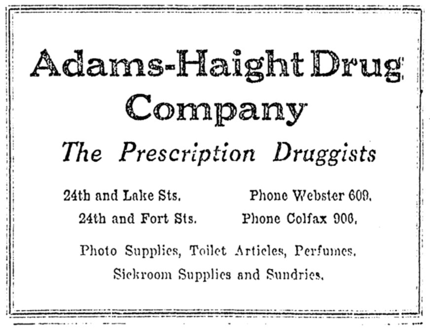 Adams-Haight Drug Company, 24th and Lake, North Omaha, Nebraska