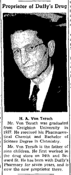 H. A. Von Tersch bought Duffy's Drugs in 1950 and ran it through 1966, when the store closed.