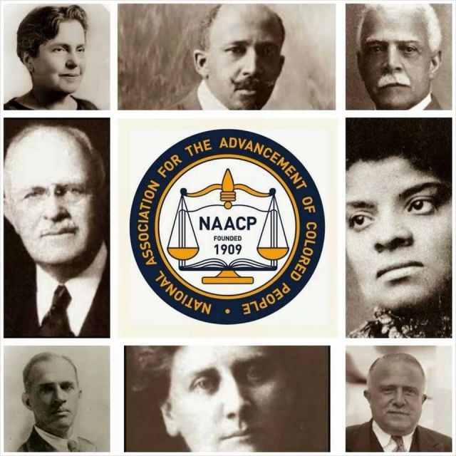 This picture shows the founders of the NAACP and the organization's logo