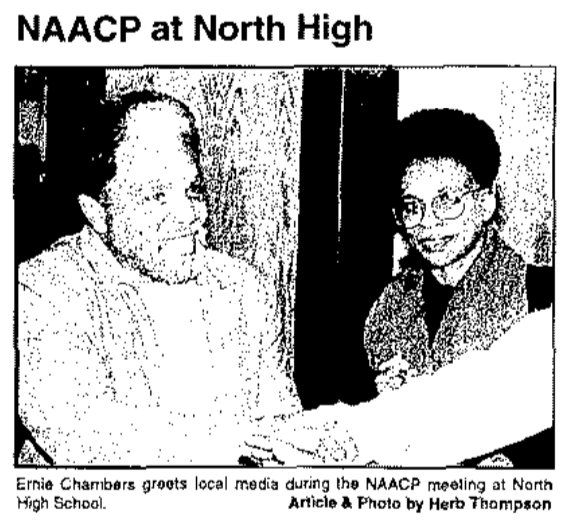 This is a November 1995 pic of Ernie Chambers at a community forum on police misconduct in North Omaha.