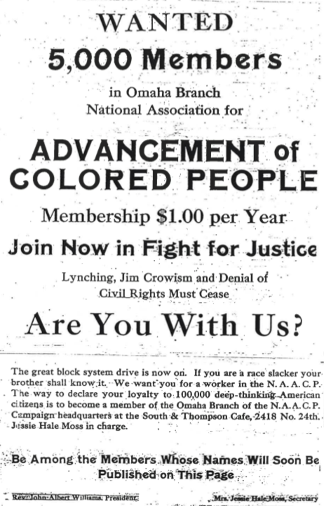 This 1919 membership drive poster from the Omaha NAACP promoted $1 fees.