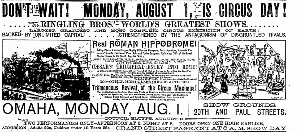 1892 Ringling Bros ad in Omaha