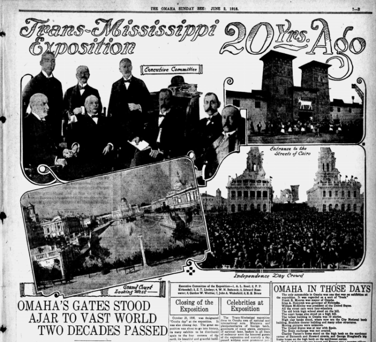 This is a 1918 spread from the Omaha Bee celebrating the 20th anniversary of the Trans-Mississippi Exposition.