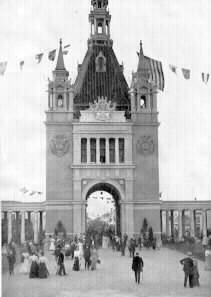 This is the Administration Building, aka the Administrative Arch, at the 1898 Trans-Mississippi Expo in North Omaha, Nebraska in 1898.