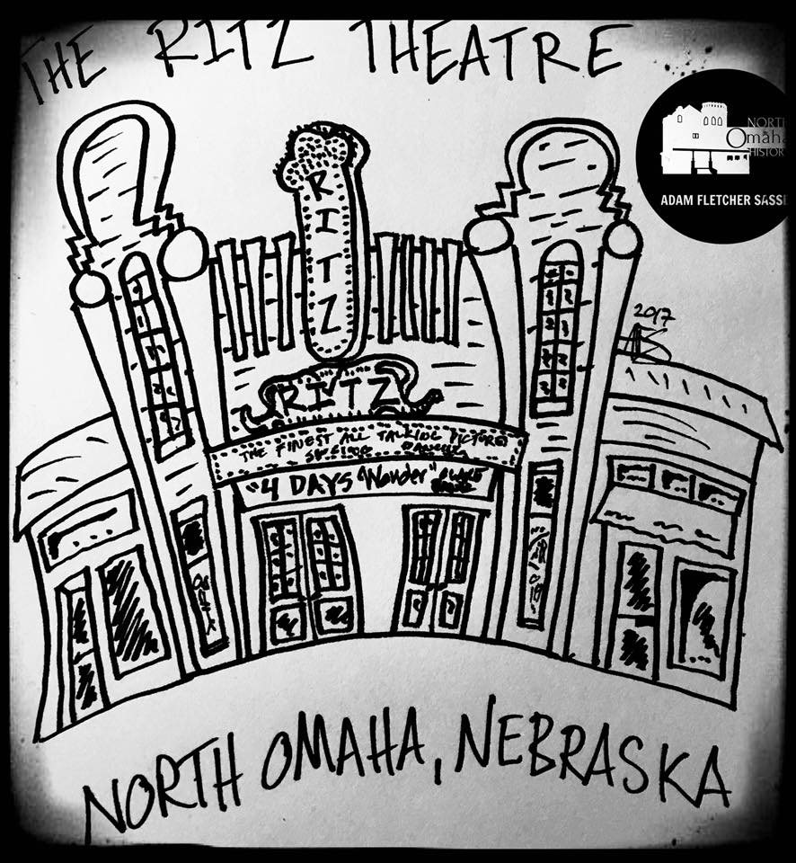 This is a drawing of North Omaha's Ritz Theater by Adam Fletcher Sasse.
