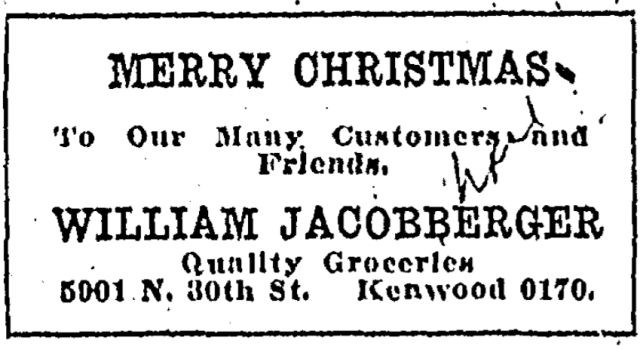 This ad illustrates William Jacobberger's grocery store in North Omaha, Nebraska