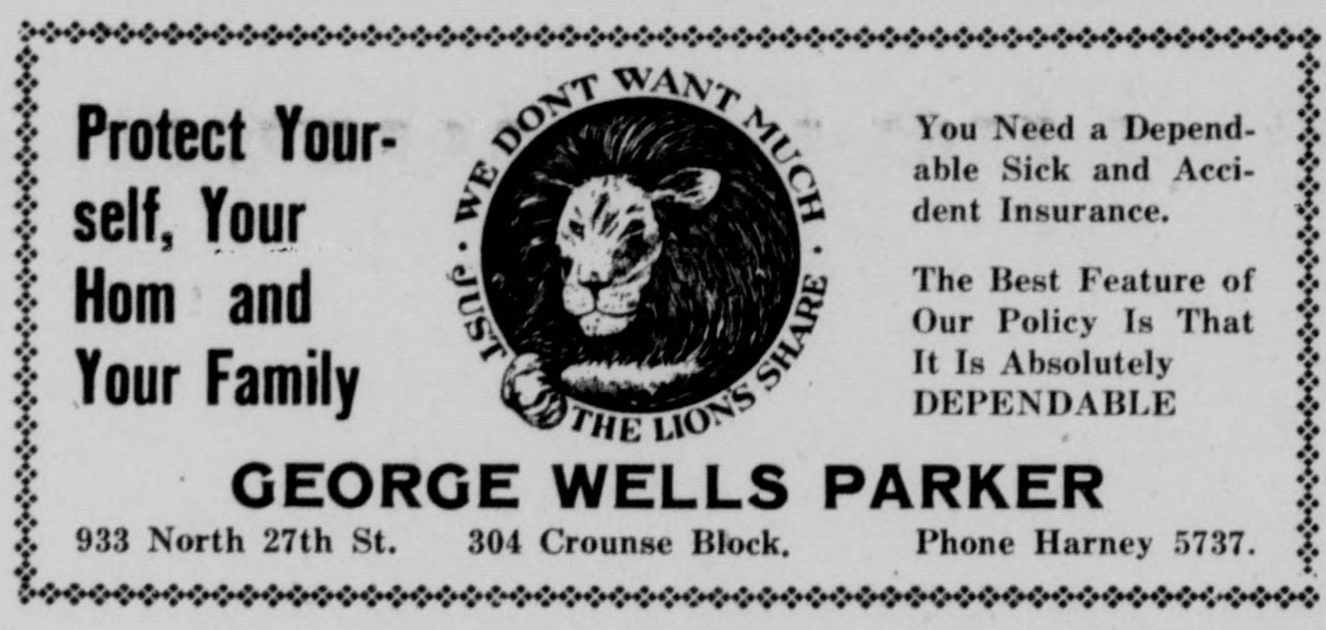 George Wells Parker's insurance company, located in his house at 933 N. 27th Street.