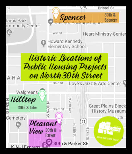Historic locations of public housing projects on N. 30th St. in North Omaha, Nebraska