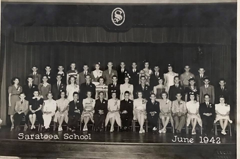 This is (likely) an eighth grade class pic at Saratoga School in 1942.