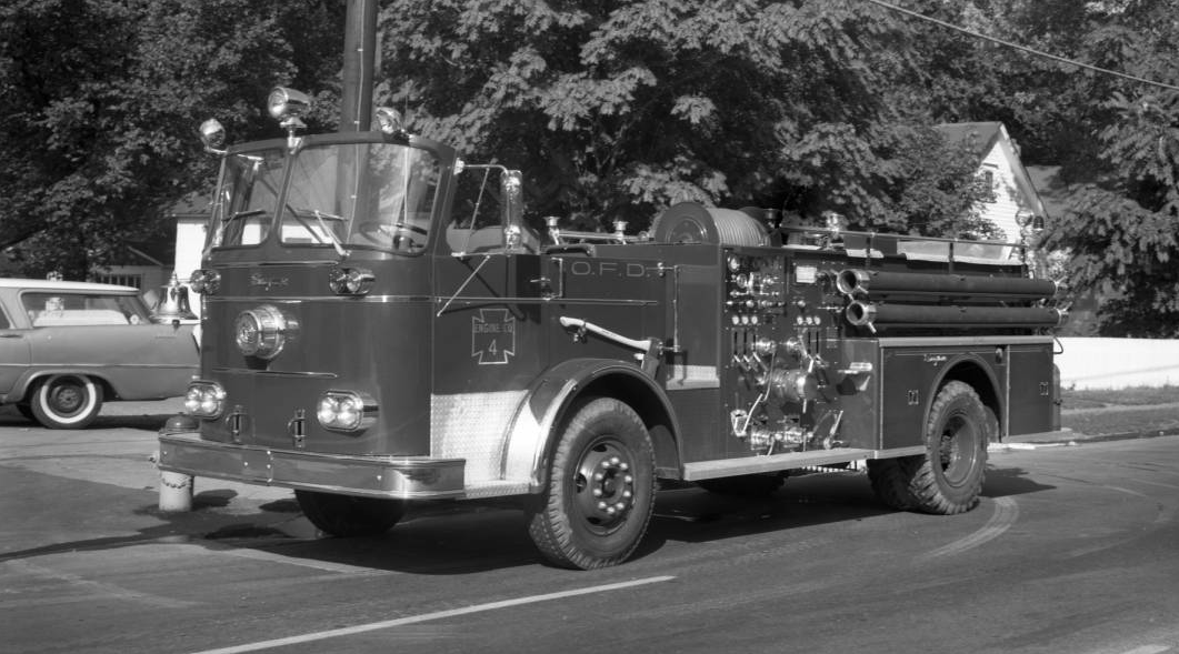 This is a picture of a 1963 Omaha Fire Department pump truck assigned to Engine Company #4, which was in the Saratoga fire station.