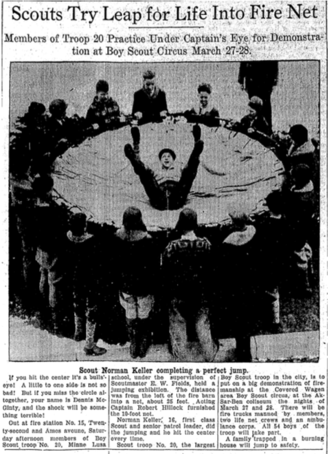 Boy Scouts from Minne Lusa Troop 30 practice firefighting skills at OFD Station 15 in this March 8, 1931 newspaper feature.