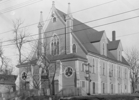 This is a picture of Omaha Second Presbyterian Church that later became B'nai Jacob Anshe Sholem, once located at North 24th and Nicholas Streets.