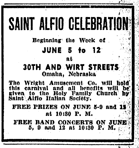 1932 Saint Alfio Celebration, North Omaha, Nebraska