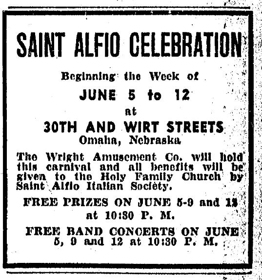1932 Saint Alfio Celebration, North Omaha, Nebraska