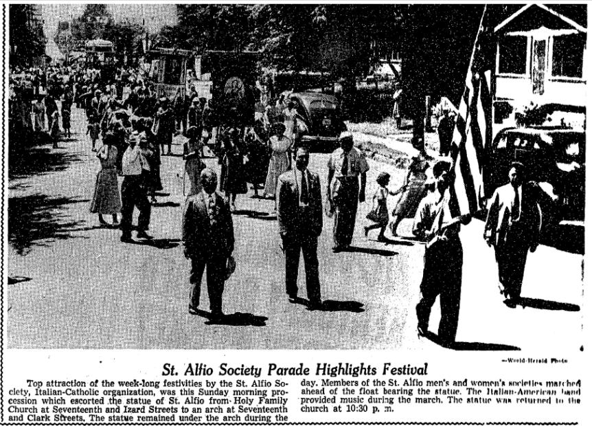 St. Alfio Society Parade in North Omaha, Nebraska, in 1949
