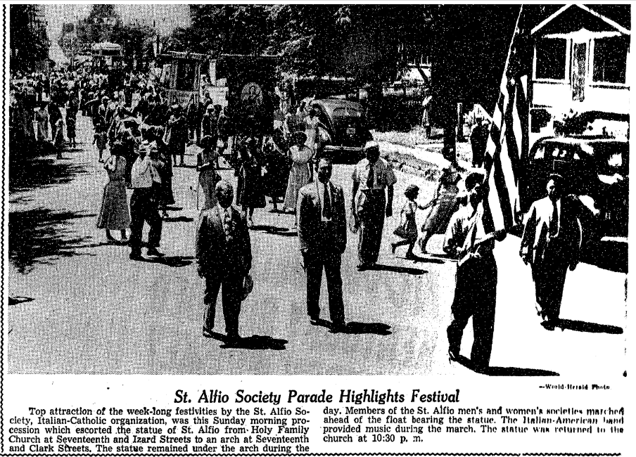 St. Alfio Society Parade in North Omaha, Nebraska, in 1949
