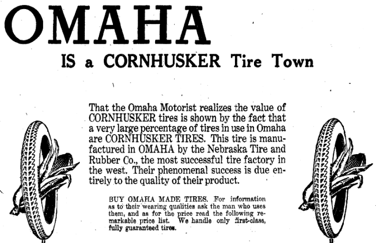 1925 Nebraska Tires and Rubber Company advertisement