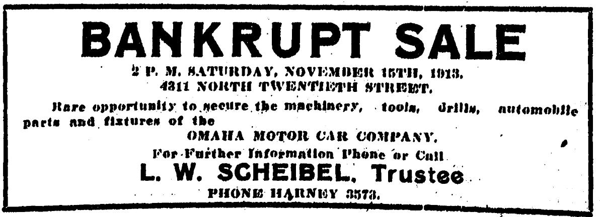 Omaha Motor Car Company, 4311 North 20th Street, North Omaha, Nebraska