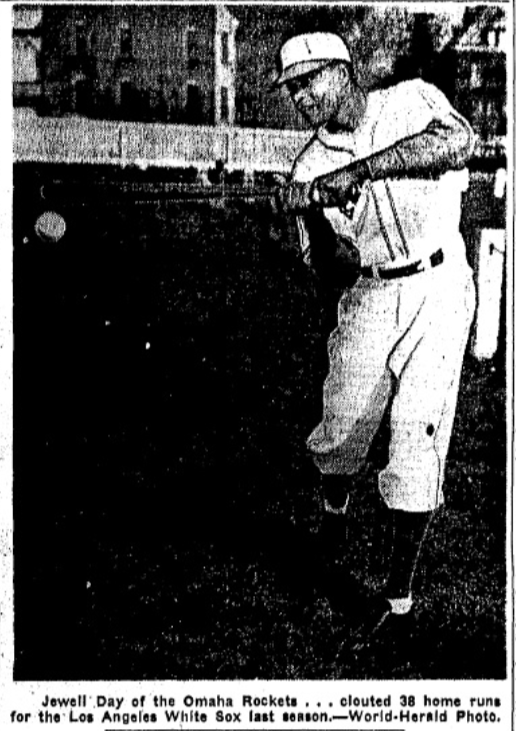 """The caption from this 1947 Omaha World-Herald feature says, """"Jewell Day of the Omaha Rockets... clouted 38 home runs for the Los Angeles White Sox last season."""""""