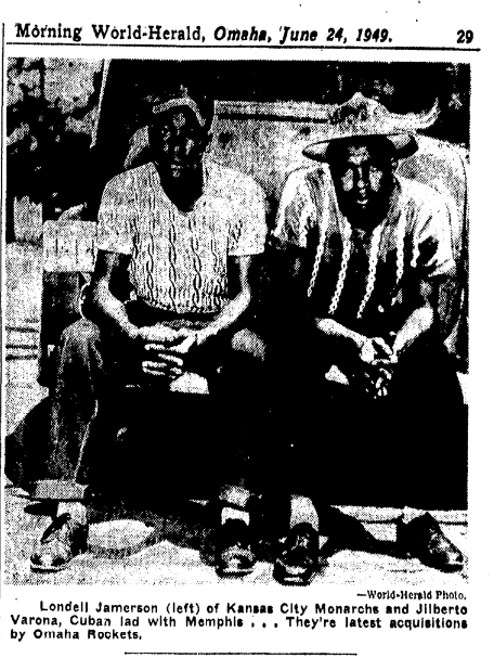 Omaha Rockets acquisitions Londell Jamerson and Gilberto Varona in 1949
