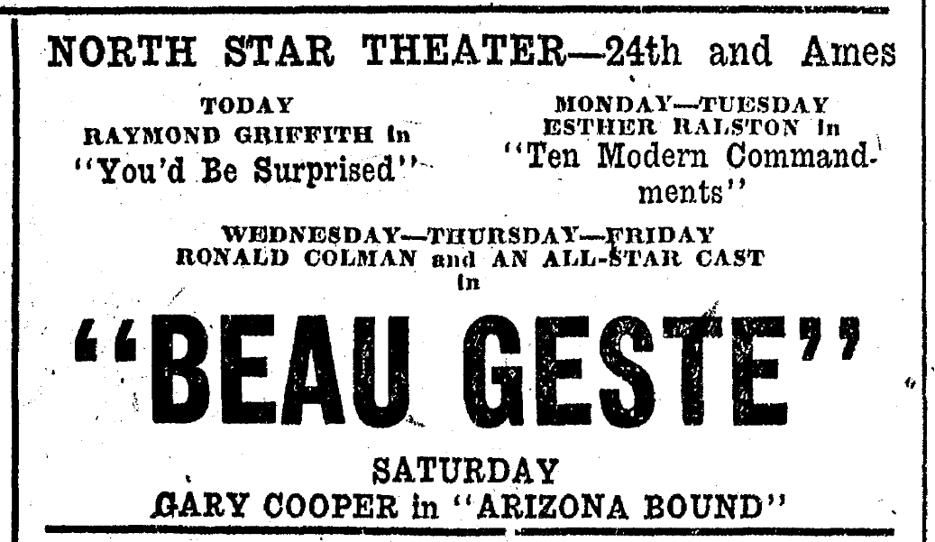 """Beau Geste"" ad from North Star Theater, 24th and Ames, North Omaha, Nebraska"