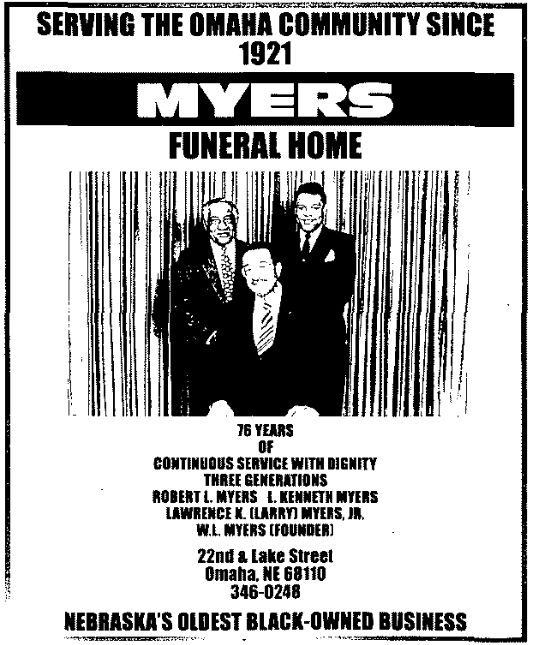 This is a 1997 ad for Myers Funeral Home in North Omaha, Nebraska