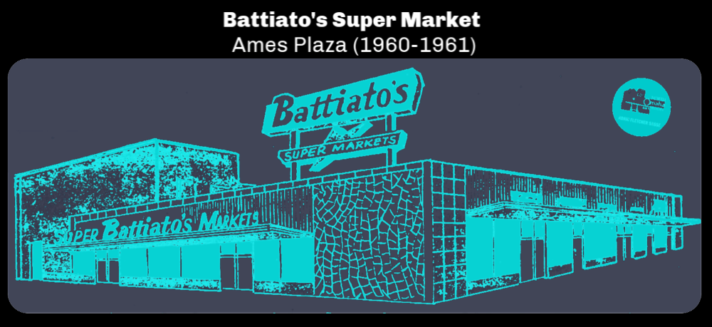 Battiato's Super Market was located in Ames Plaza in 1960 and 1961. It then became Baker's.