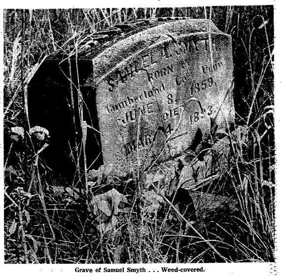 This is a 1967 pic of an 1893 gravestone for Samuel A. Smyth (1859-1893) at Potter's Field in North Omaha, Nebraska.